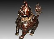 훈로熏炉:대독각수大独角兽(수홍동) 재질材质:정연동精炼铜 중량重:16382g