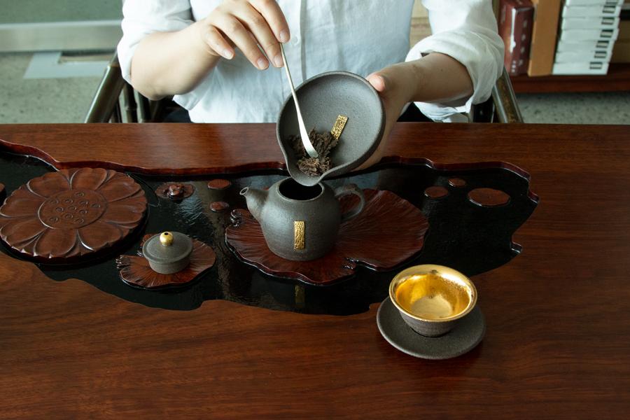 [경주요] 흑토 무유 금박장식 차하